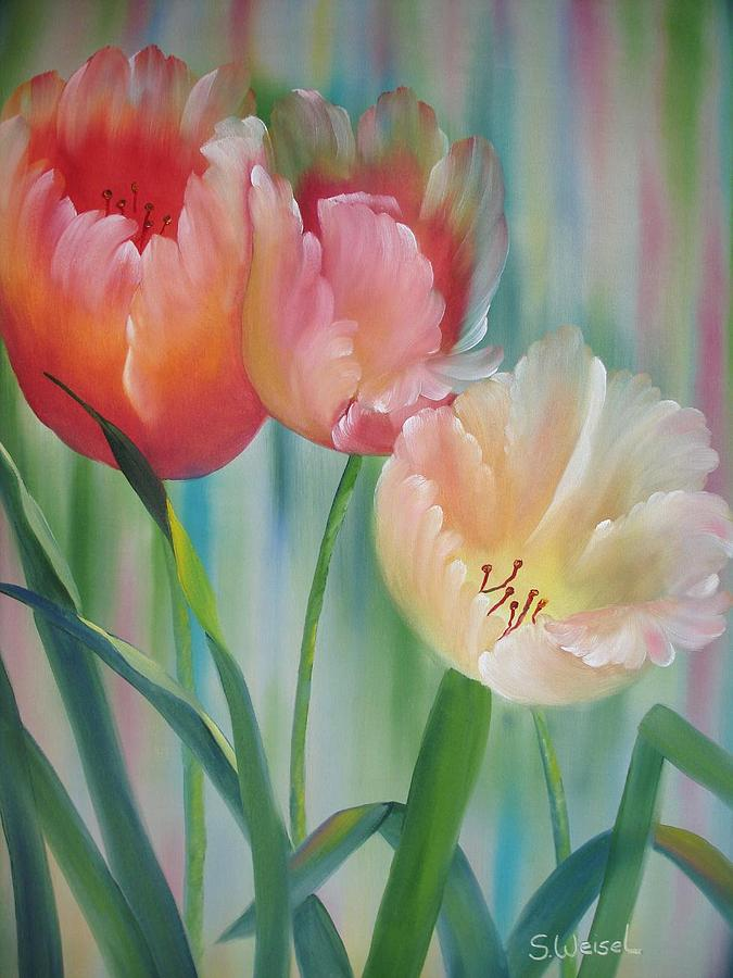 Tulips Painting by Sherry Winkler