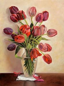 Tulips Painting by Suleyman Mavruk