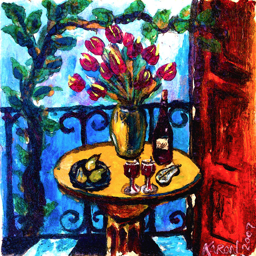 Italia Painting - Tulips Wine And Pears by Karon Melillo DeVega