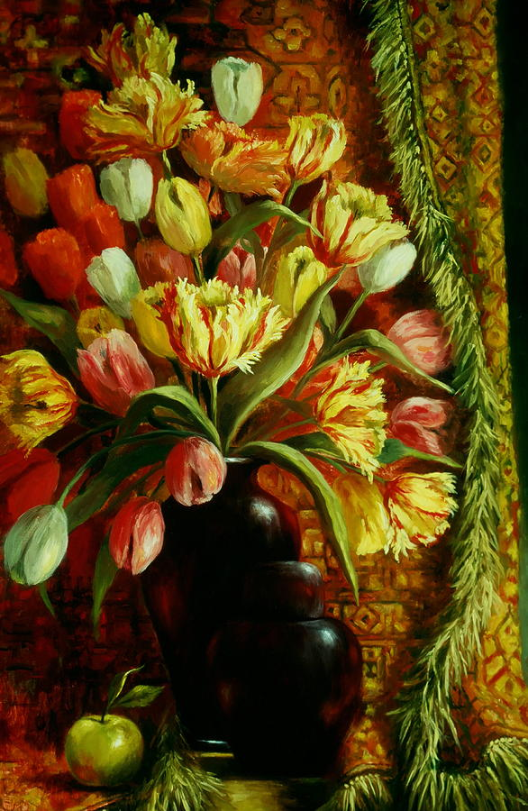Tulips Painting - Tulips With Apple by Ruth Stromswold