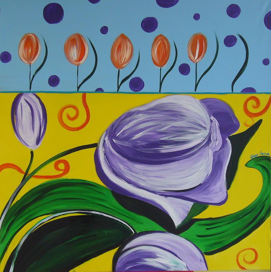 Flowers Painting - Tullips  by Marilena  Pilla