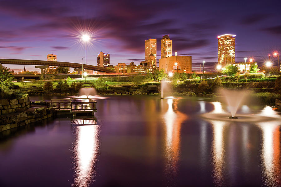 America Photograph - Tulsa Lights - Centennial Park View by Gregory Ballos