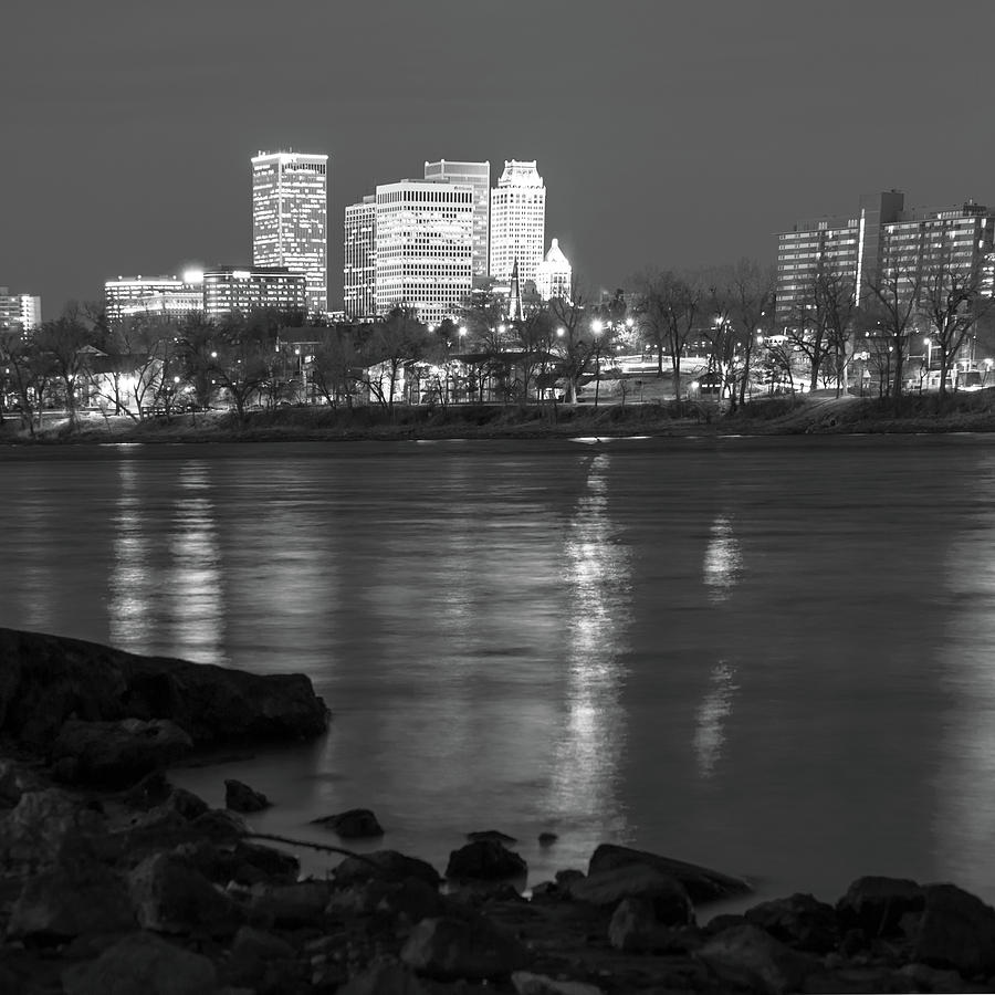Tulsa oklahoma city skyline reflections black and white