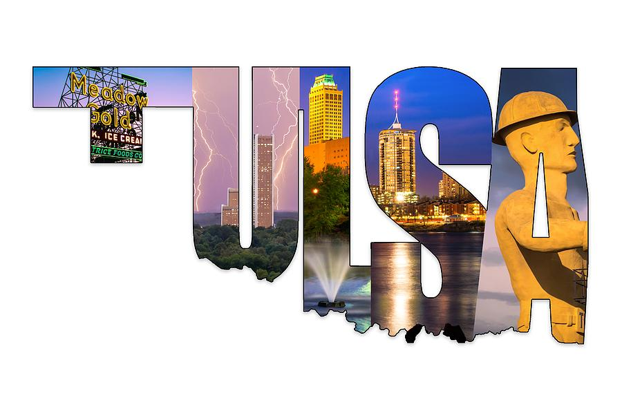 Tulsa Oklahoma Collage Typography State Shape Series Photograph By