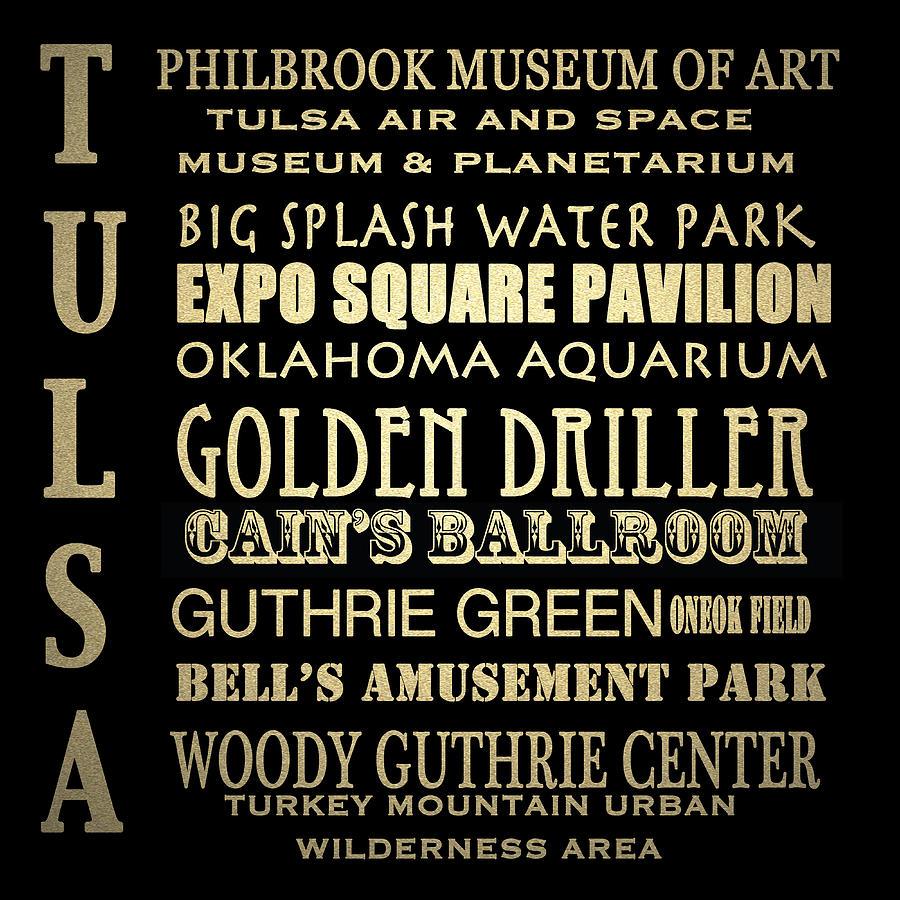 Tulsa Digital Art - Tulsa Oklahoma Famous Landmarks by Patricia Lintner