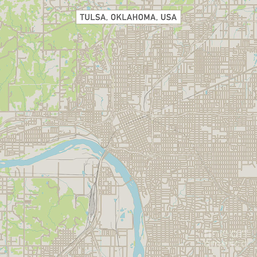 Tulsa Oklahoma Us City Street Map Digital Art By Frank Ramspott - Tulsa-on-us-map