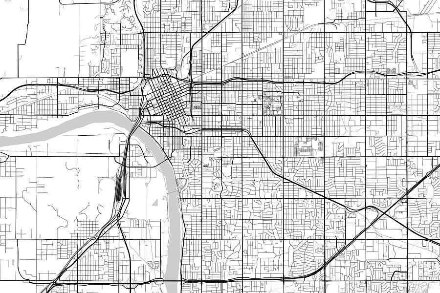 Tulsa Oklahoma Usa Light Map Digital Art By Jurq Studio