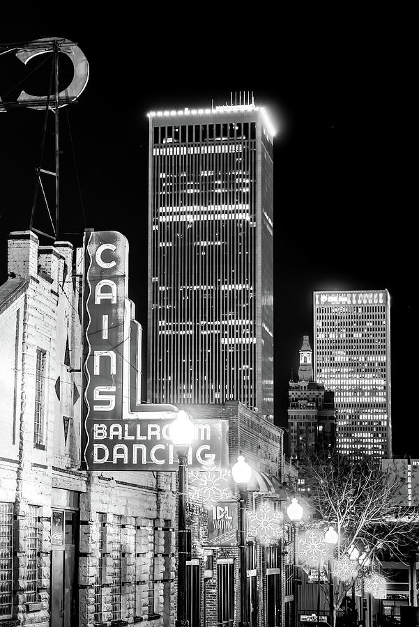 Tulsa Skyline And Cains Ballroom Music Hall - Black And White Photograph