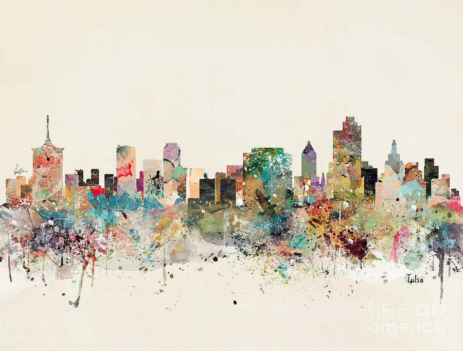 Tulsa Painting - Tulsa Skyline by Bri Buckley