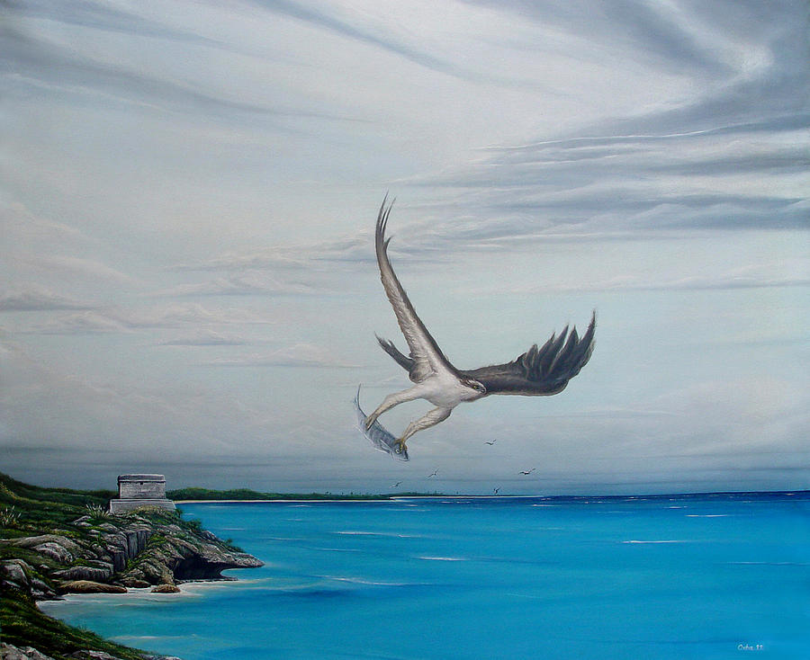 Seascape Painting - Tulum by Angel Ortiz