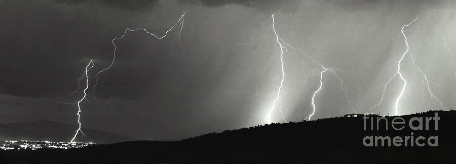 Lightning Photograph - Tumac Hill-signed by J L Woody Wooden