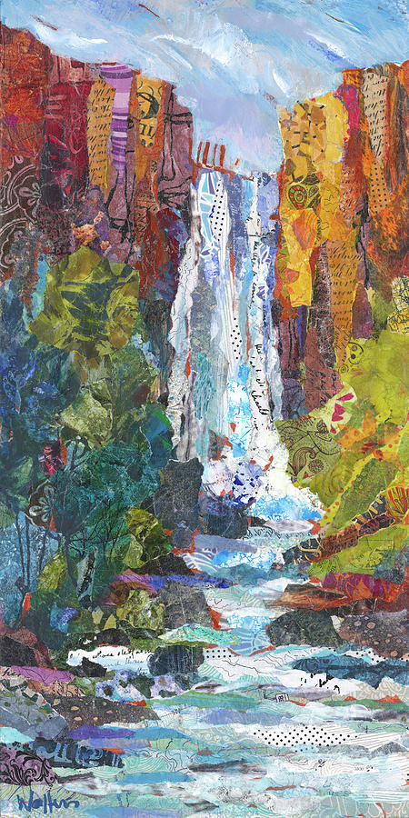 Waterfall Painting - Tumalo Falls Out And Back by Shelli Walters
