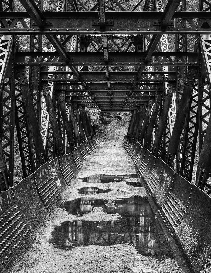 Autumn Photograph - Tumwater Canyon Pipeline Bridge Black And White by Mark Kiver