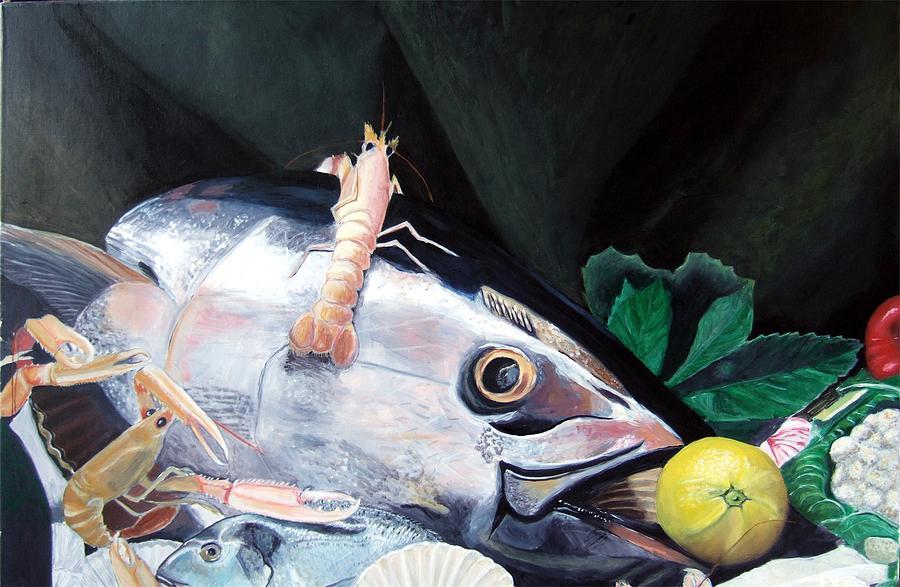 Still Life Painting - Tuna Head in Venice by Michael Henderson
