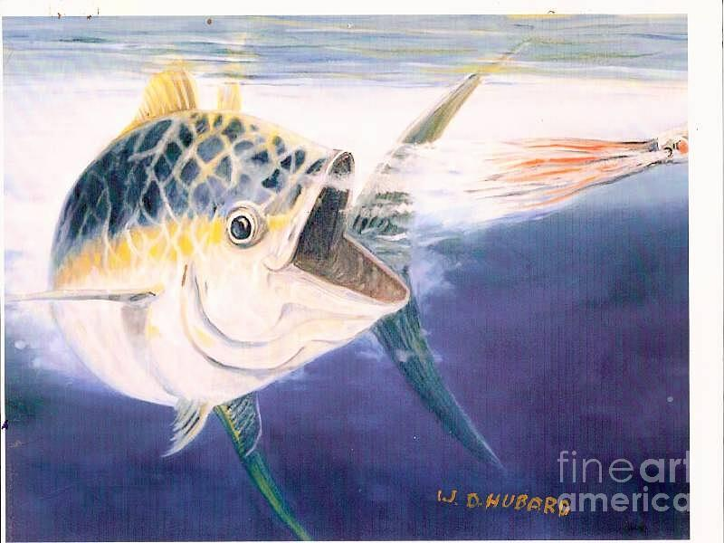 Fishing Painting - Tuna To The Lure by Bill Hubbard