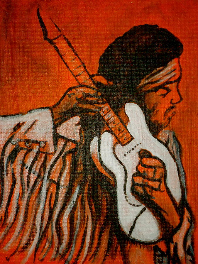 Jimi Hendrix Painting - Tune Up by Pete Maier