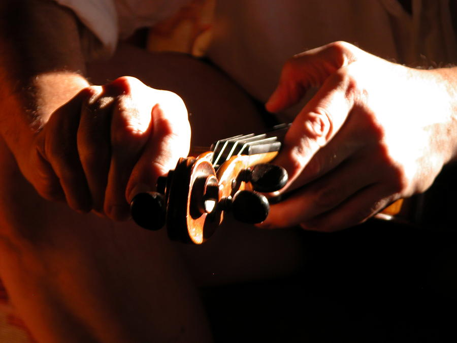 Fiddle Photograph - Tuning by Donna Stewart