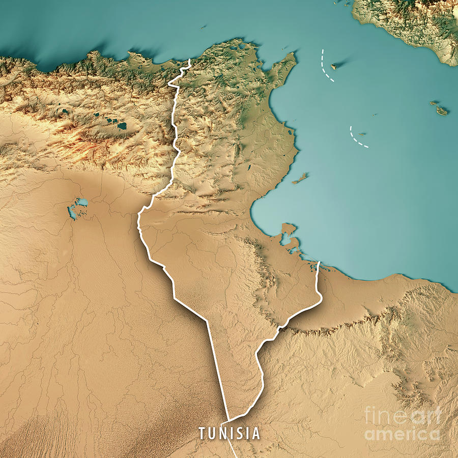 Tunisia 3d Render Topographic Map Border Digital Art By Frank