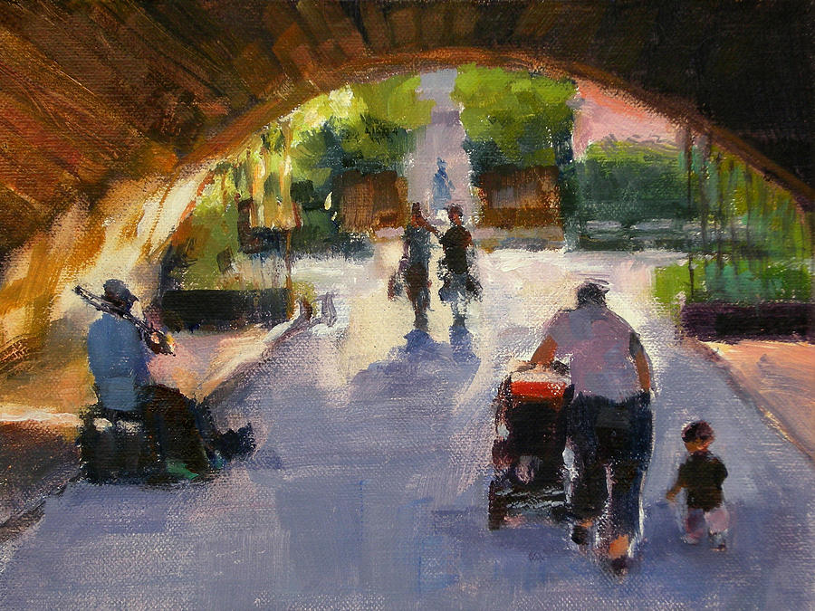 Urban Landscape Painting - Tunnel In Central Park by Merle Keller