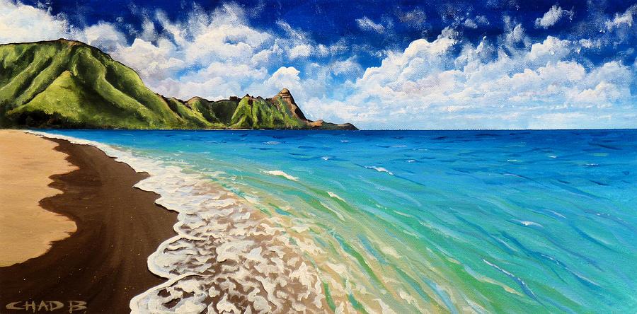 Kauai Painting - Tunnels Beach by Chad Berglund
