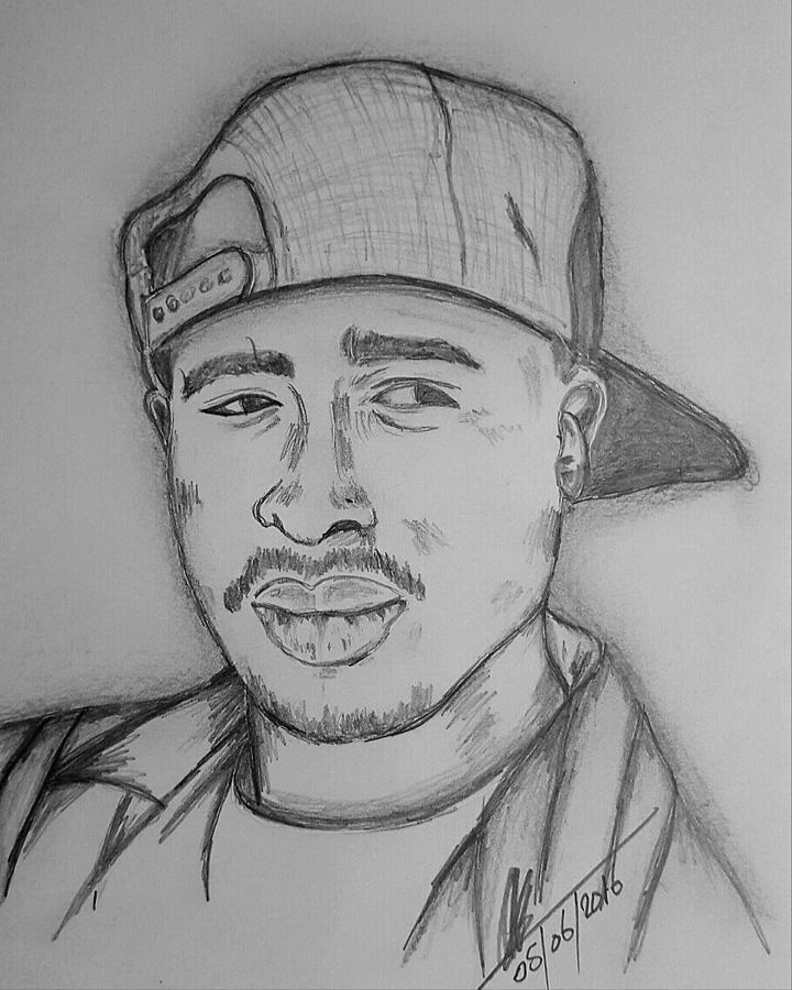 tupac amaru shakur drawing by collin a clarke