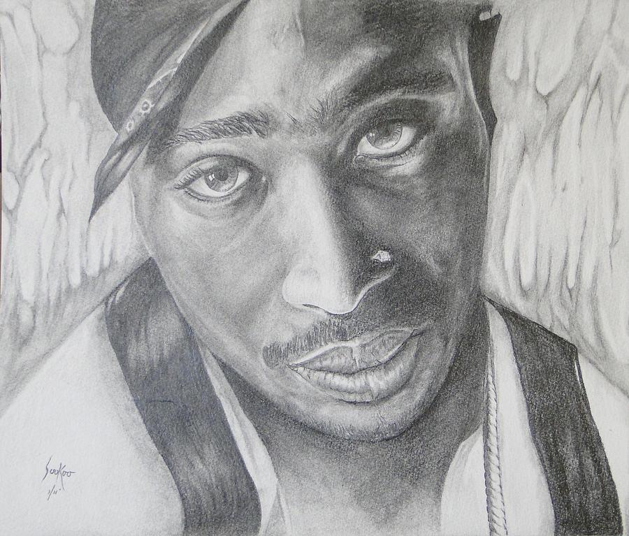Tupac Shakur Drawing - Tupac Shakur II by Stephen Sookoo