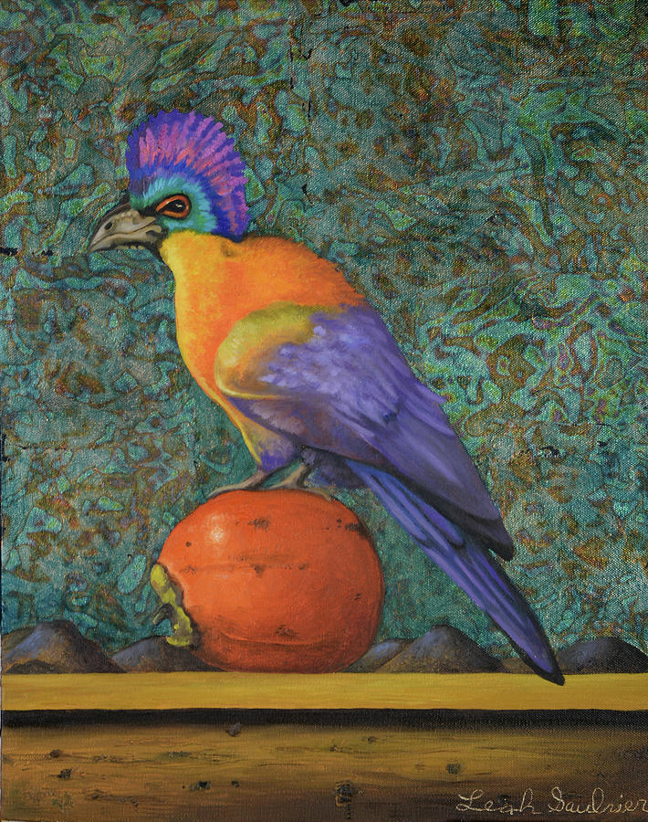Turaco On A Persimmon by Leah Saulnier The Painting Maniac