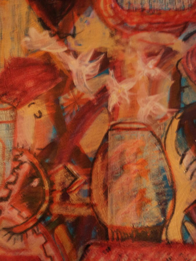 Goldfish Painting - Turbanned Man With Goldfish Bowl Abstract by Anne-Elizabeth Whiteway