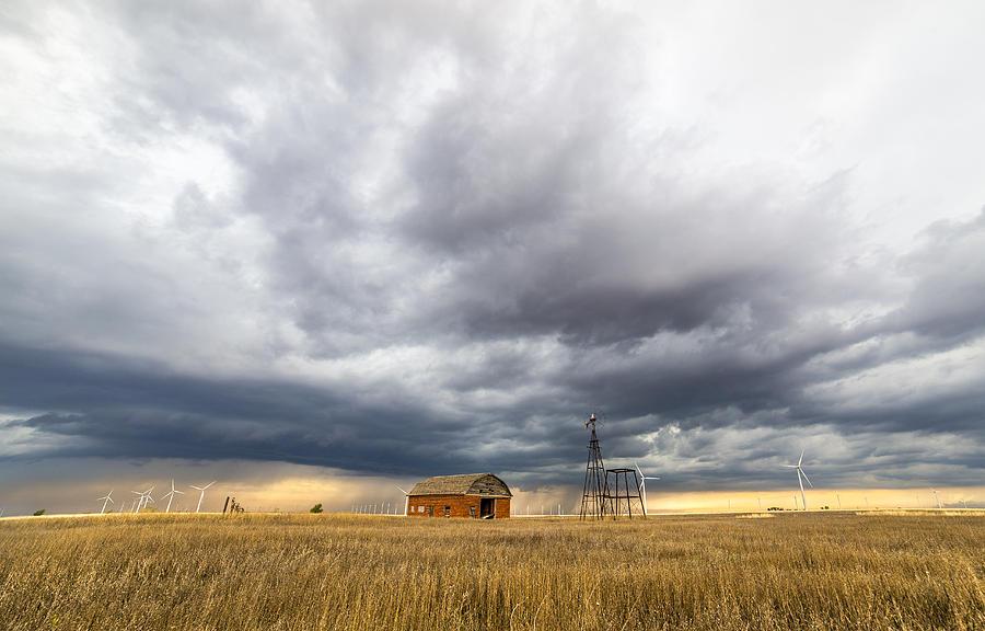 Wheat Photograph - Turbine Skies by Brandon Sullivan