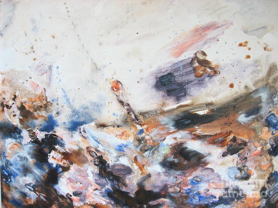 Seascape Painting - Turbulent sea by Moray Watson