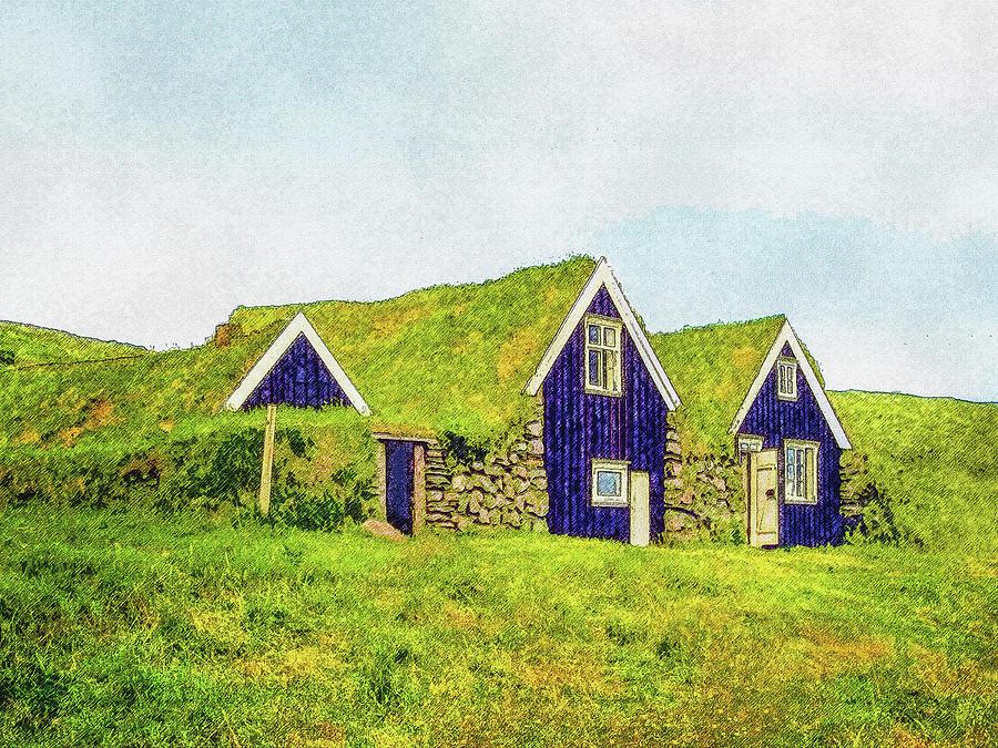 Iceland Digital Art - Turf Huts In Skaftafell by Frans Blok