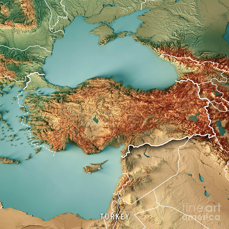 Turkey Country 3d Render Topographic Map Border Digital Art by Frank ...