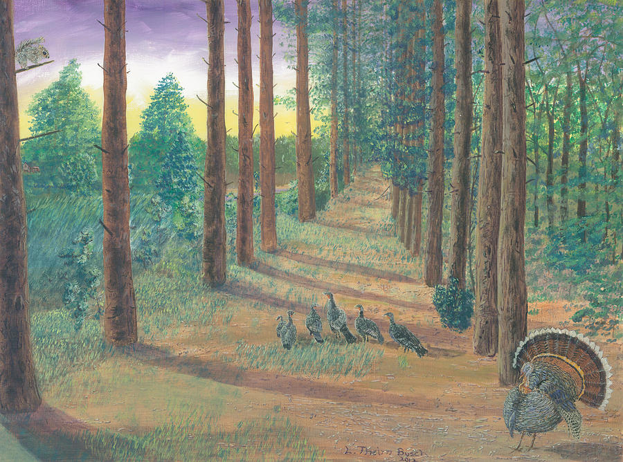 Wild Life Pictures Painting - Turkeys On Bobs Trail by Lori  Theim-Busch