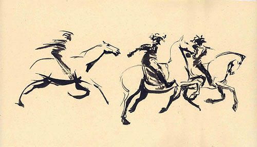 Horse Drawing - Turkman Horseman by Mehrdad Sedghi