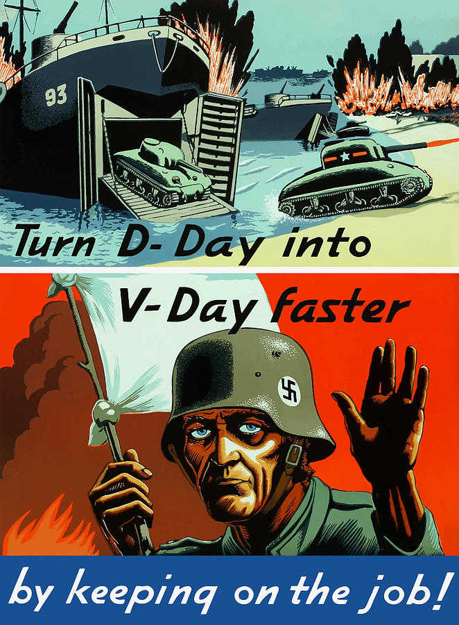D Day Painting - Turn D-day Into V-day Faster  by War Is Hell Store