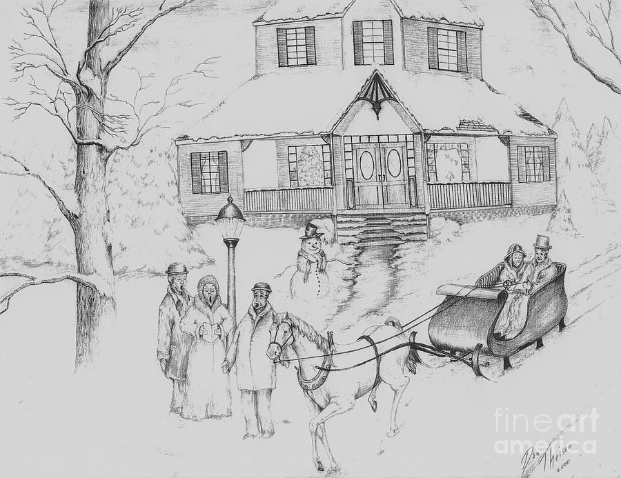 Christmas Drawing.Turn Of The Century Christmas