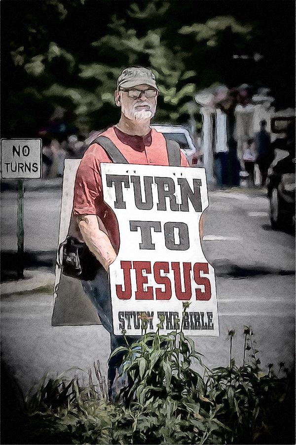 Humor Digital Art - Turn To Jesus by John Haldane