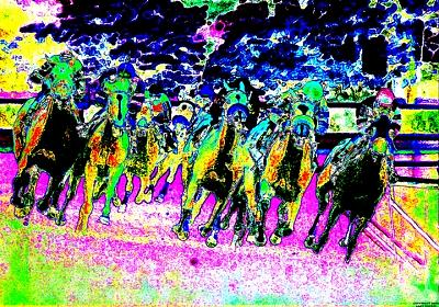 Horse Racing Digital Art - Turning Into The Lane by Gary Rogers