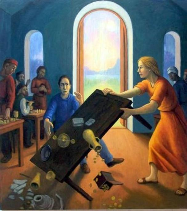 Religious Painting - Turning The Tables by Diana Dean