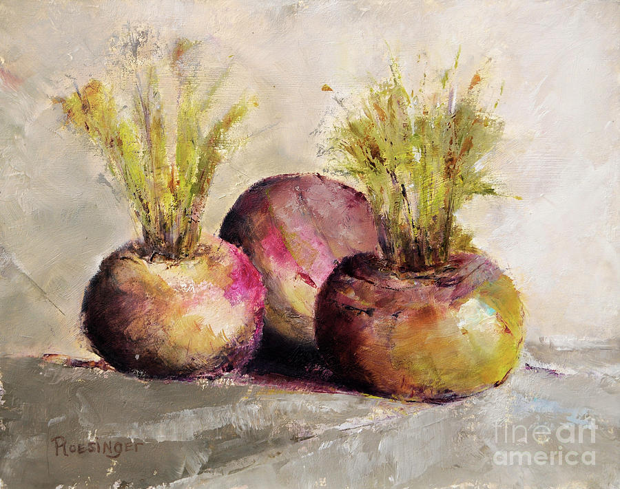 Turnips Painting - Turnips by Cindy Roesinger