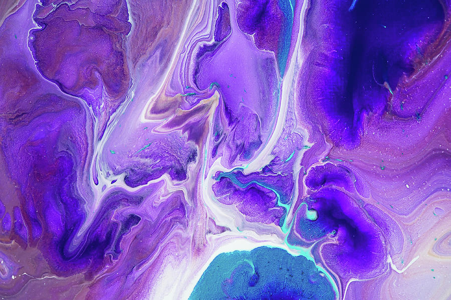 Turquoise And Purple Flows Abstract Fluid Acrylic Painting