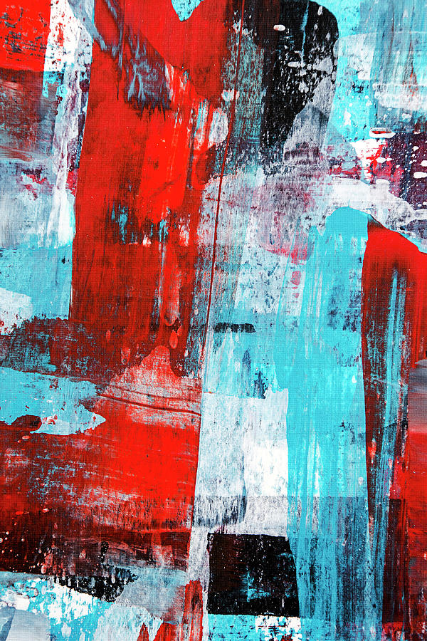 Turquoise And Red Abstract Painting Painting By Christina