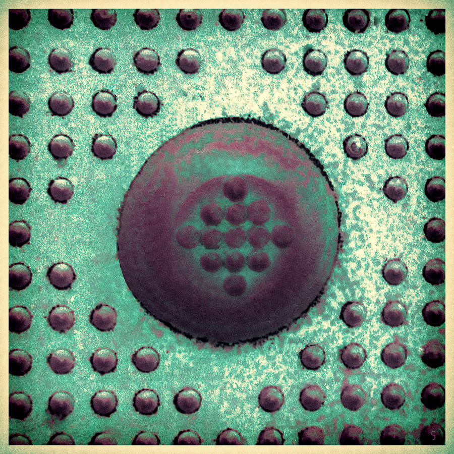 Modern Photograph - Green And Violet Dots In Cube by Tony Grider