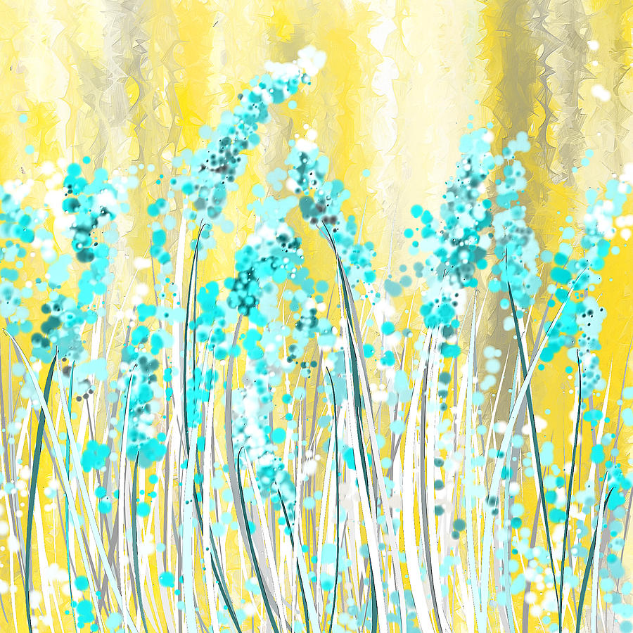 Turquoise And Yellow Painting By Lourry Legarde