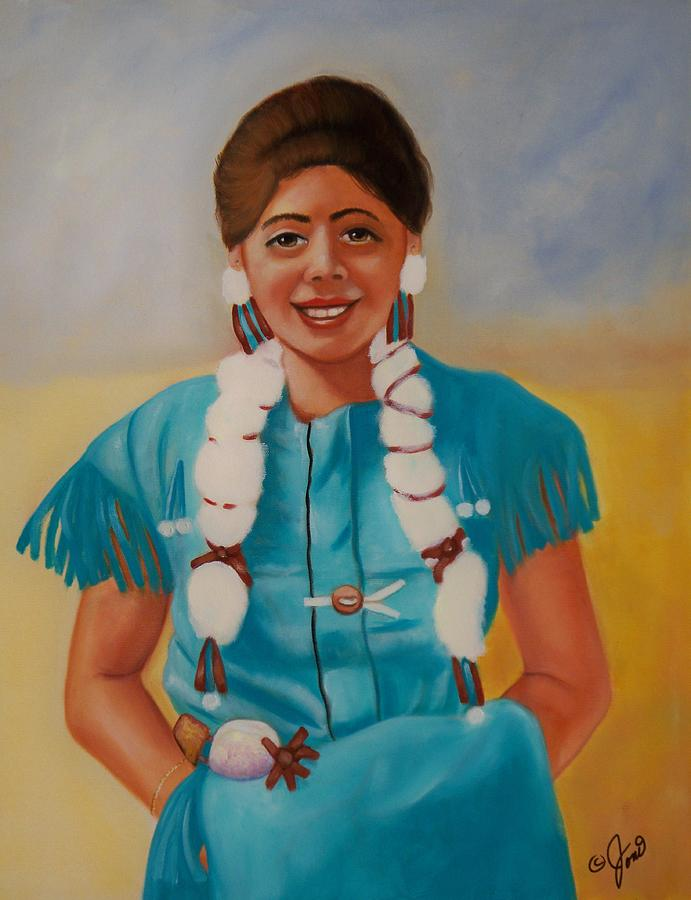 Portrait Painting - Turquoise Beauty by Joni McPherson
