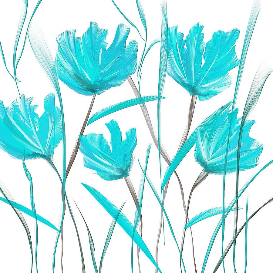 Бирюзовый цветок рисунок организовать