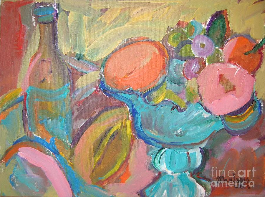 Bottle Painting - Turquoise Bowl by Marlene Robbins