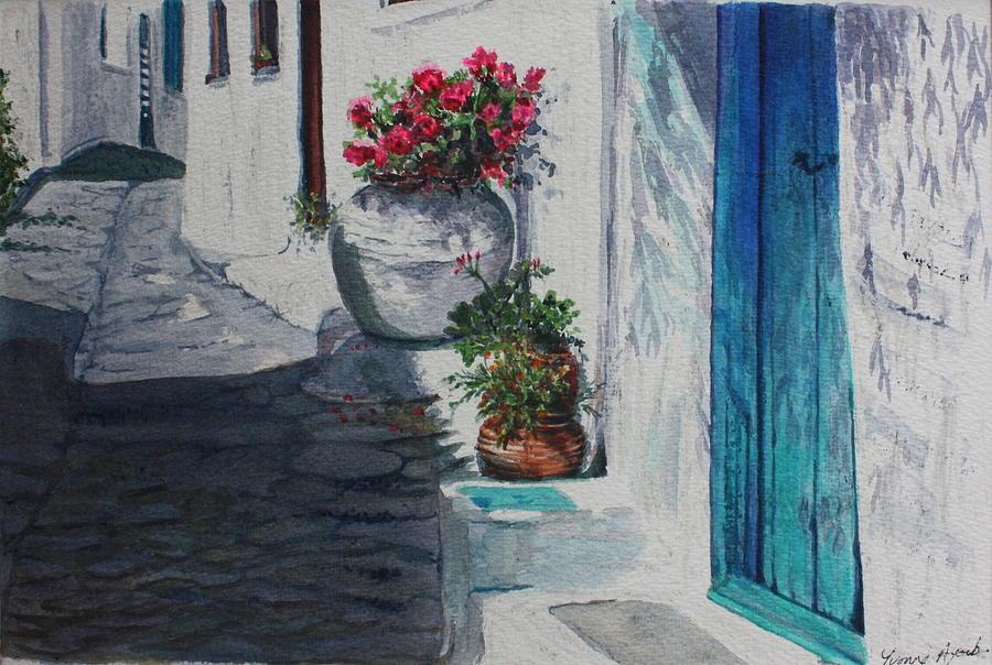 Door Painting - Turquoise Door by Yvonne Ayoub