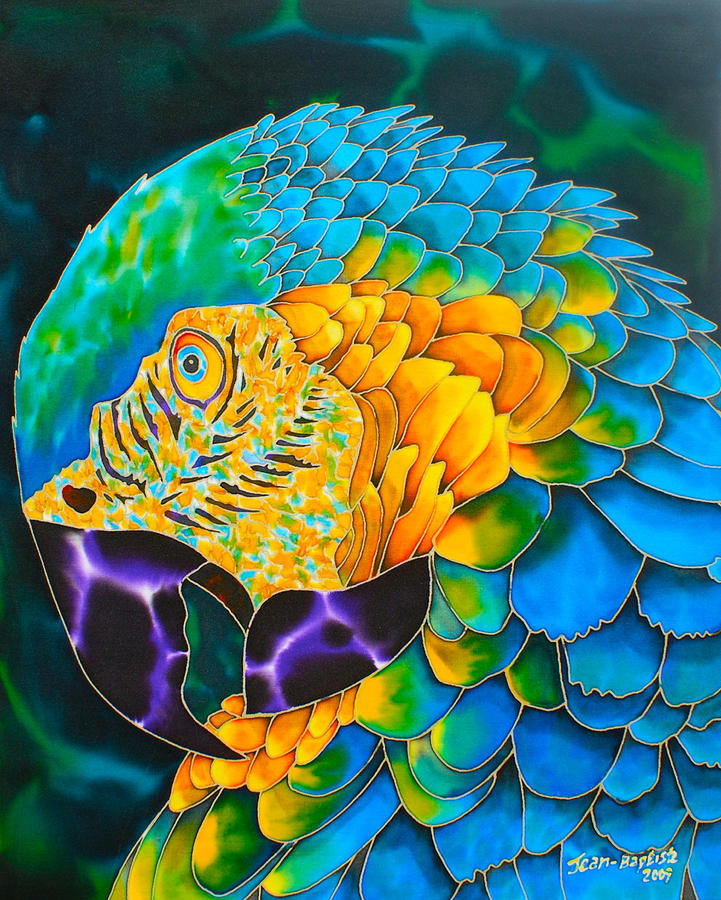 Amazon Parrot Painting - Turquoise Gold Macaw  by Daniel Jean-Baptiste