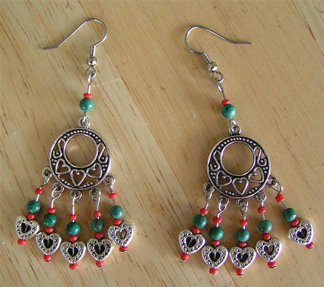 Turquoise Jewelry - Turquoise Heart Earrings by Kim Souza